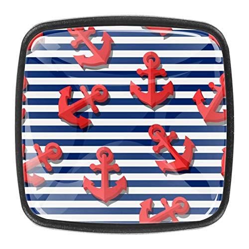 Juego de 4 pomos de armario de cocina de 1.18 pulgadas, pomos de cristal para cajones con kit de herramientas para muebles de dormitorio, cocina, anclajes náuticos a rayas oceánicas