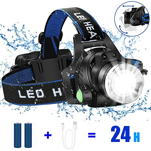 HUNLEE LED Stirnlampe Kopflampe mit Geste Sensor Funktion USB Wasserdicht Wiederaufladbare 5600mAh Headlight,Stirnleuchte Für Fischen,Keller,Laufen,Joggen,Wandern,Lesen,Arbeiten