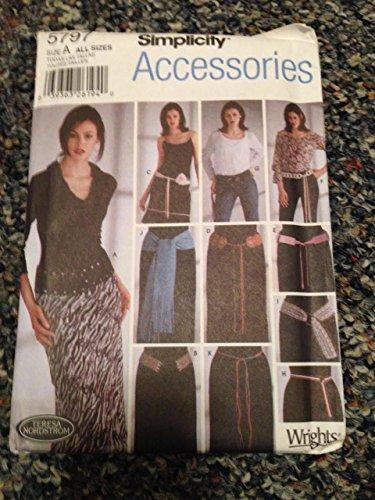Simplicity 5797Schnittmuster, Damenkleider Gürtel, eine Größe