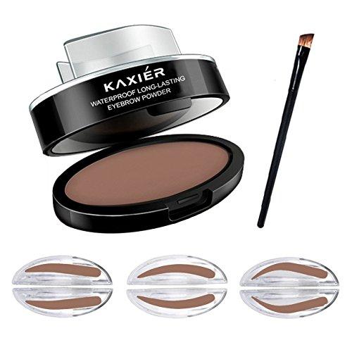 CCbeauty Eyebrow Powder Stamper Seal Kit Eyebrow Makeup Tinting Coloring Kit,Eyebrow Box with Mirror,3 Pair Different Eyebrow Shape Stamp,1 Eyebrow Brush,Light Brown