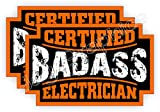 (2) Badass ELECTRICIAN Hard Hat Stickers   Bad Ass Motorcycle Helmet Decals   Boss Bossman Company Laborer Construction Electrical Lineman Pole Climber Safety Labels Badges