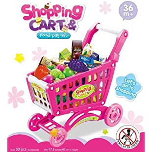 Customer reviews Delex® Children Shopping Cart Trolley PlaySet Includes 52 Grocery Shop Accessories. Great Christmas XMAS \ Birthday Gift New (Pink)