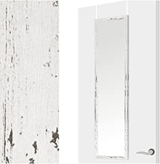 comprar comparacion Espejo para Puerta Moderno, Color Decapé Blanco, para Dormitorio, sin Agujeros (34,7cm X 1,5cm X 125cm) - Hogar y Más