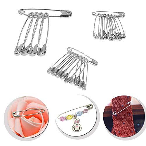 WedDecor diverse maten veiligheidsspelden zilver roestvrij staal pin voor ambachten, waszak, kleding, dekens, dressoir, mode accessoires, Zilver, 25 stks