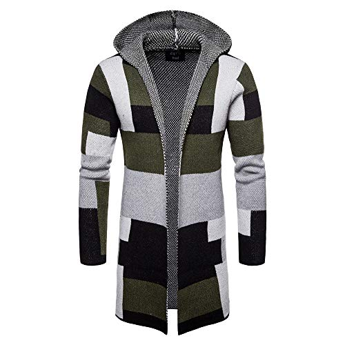 Sumen Men Hooded Knit Long Cardigan Fashion Color Block Coat Jacket Green