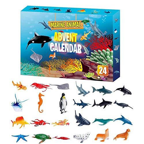 Kinder Adventskalender 2020 Weihnachten Meerestier Kit, 24 Stück Verschiedene Countdown-Kalender Spielzeug, Mädchen oder Jungen