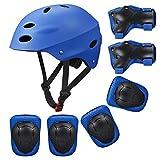 KUYOU Kinder Sport-Schutzausrüstung, 7PCS Knieschoner Ellenbogenschoner Handgelenkschutz Helm Schutzset zum Draußen Rollschuhlaufen Inline Skates Skateboarding Radfahren (blau)