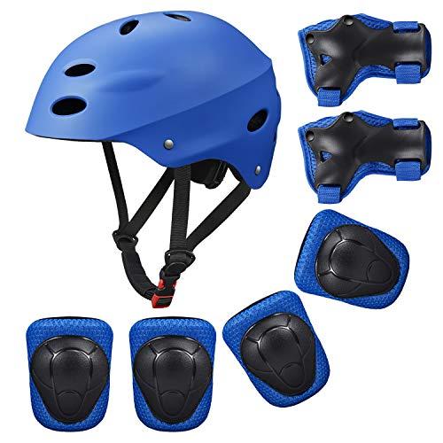Schonerset Kinder Schützer Inliner Protektoren für Kinder 7er Schutzausrüstung mit Helm Ellenbogenschützer Handgelenkschoner Jungen Mädchen Knieschoner für Skateboard Fahrrad Inliner Rollschuh Scooter