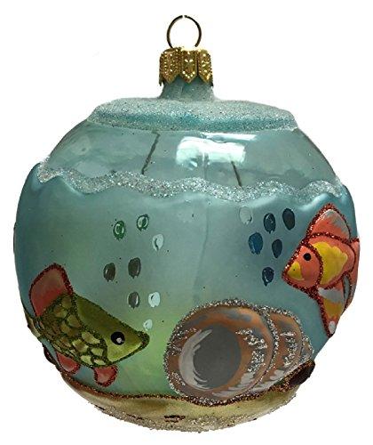 Pinnacle Peak Trading Company Aquarium Fish Bowl Round Ball Polish Glass Christmas Tree Ornament Made Poland
