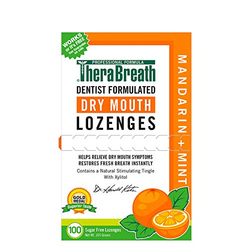 TheraBreath Dry Mouth ZINC Lozenges, Mandarin Mint Flavor, 100...