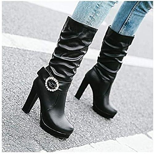DESY Stiefel Altas para damen PU (Poliuretano) Stiefel de tacón Alto Stiefel hasta la Rodilla con Punta Cerrada,A,US9 EU40 UK7 CN41