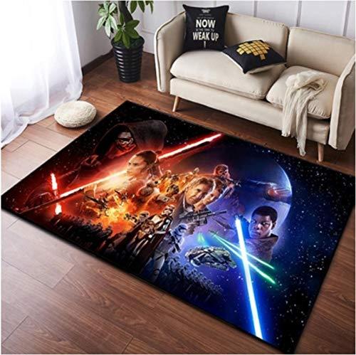 chengcheng Alfombra de Star Wars, alfombras de cabecera de Caballero Jedi, Alfombra de Piso de habitación de niños de Guerrero Negro 80x150cm