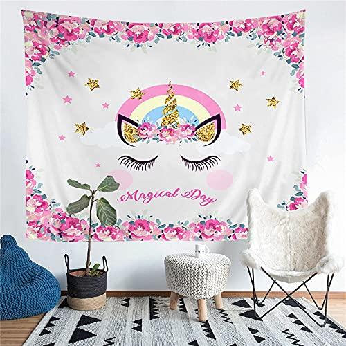 KHKJ Unicornio de Dibujos Animados niños Impreso decoración de la Sala de Estar Tapiz Colgante de Pared Alfombra de Yoga Alfombra decoración del hogar Arte A7 95x73cm