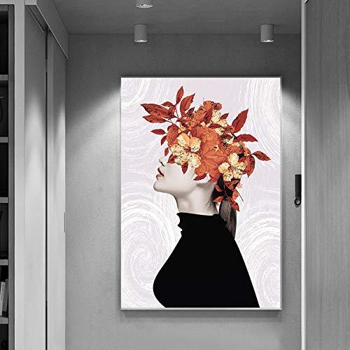 QianLei affiche slinger meisjes schildererkop met blad abstract muurkunst modern minimalistisch zwart wit meisjes Scandinavisch wooncultuur 50 x 75 cm niet ingelijst