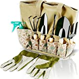 Scuddles Garden Tools Set - 8 Piece Heavy Duty Gardening Kit with Storage Organizer, Ergonomic Hand Digging Weeder Rake Shovel Trowel Sprayer Gloves