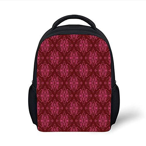 Kids School Backpack Hot Pink,Traditional Eastern Damask Pattern Over Burgundy Background Ethnic Design Print Decorative,Burgundy Pink Plain Bookbag Travel Daypack