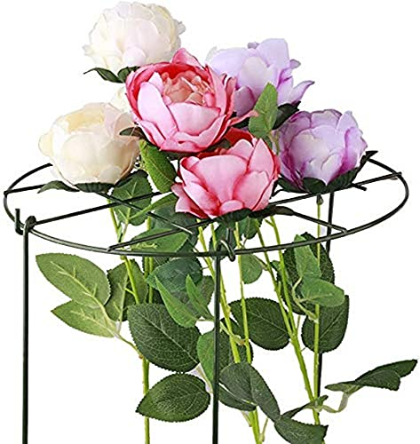 Plant Grid,Iron Flower Pots Trellis Support Grow Through Plant Support Ring Peony Cages with Three Legs for Pot Plants Flowers Home Garden Balcony 2 pcs