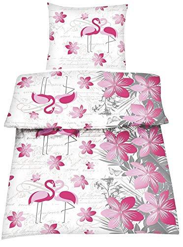 Soma Optidream Microfaser Bettwäsche 2 teilig Bettbezug 135 x 200 cm Kopfkissenbezug 80 x 80 cm Flamingo 401620 Pink Weiß