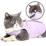 Glorisun Cat Sleeveless Shirt, Cat Recovery Suit Breathable E-Collar Alternative After Surgery Wear Suit, Purple, Small Size