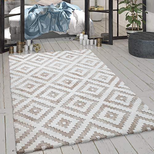 Paco Home Tapis De Salon, Poils Ras avec Motif Losanges Et Effet Brillant Beige Crème, Dimension:160x220 cm