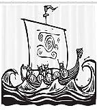 ABAKUHAUS Wikinger Duschvorhang, Langes Boot auf Einer Quest-Skizze, mit 12 Ringe Set Wasserdicht Stielvoll Modern Farbfest & Schimmel Resistent, 175x180 cm, Weiß Schwarz