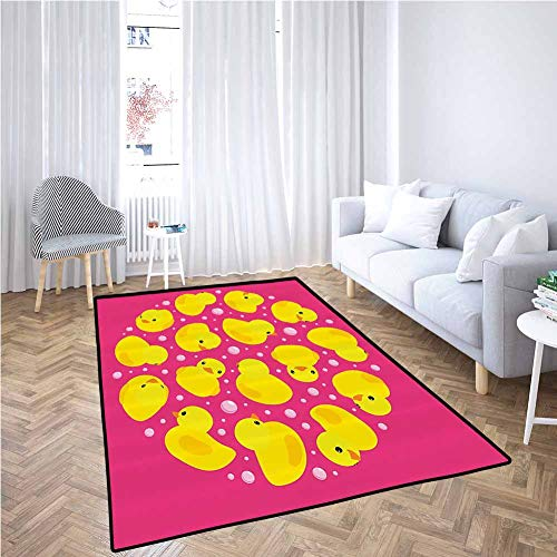 Best Deals! Rubber Duck Large Area Rugs Fun Baby Duckies Circle Artsy Pattern Kids Bath Toys Bubbles...
