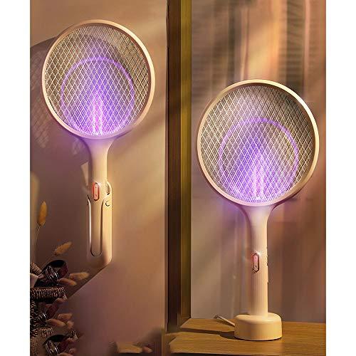 Kuai Raqueta Matamoscas Electrico,Raqueta de Mosquitos Electrico con Iluminación LED,USB Recargable,3500 V 1200mA para Interior y Exterior
