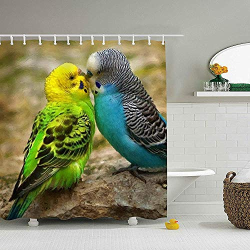 Hotyle Vögel Wellensittiche Fotomanipulation Mikrofaser Duschvorhang 120X180 cm