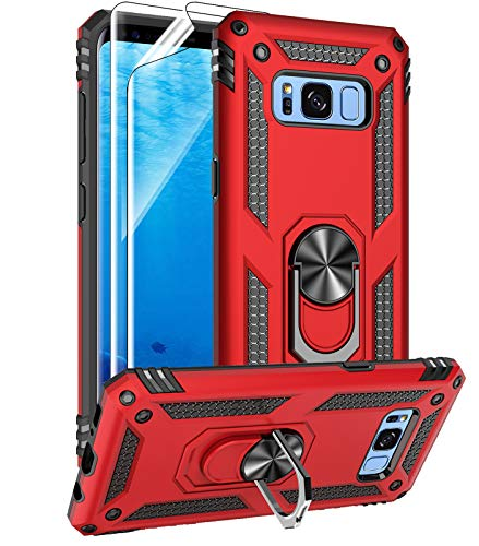Samsung Galaxy S8 Case with HD Screen Protectors, Androgate Military-Grade Metal Ring Holder Kickstand 15ft Drop Tested Shockproof Cover Case for Samsung Galaxy S8 (2017) Red