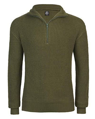 BLZ jeans Pull Homme kaki camionneur col Montant zippé Pour Homme - S - Vert