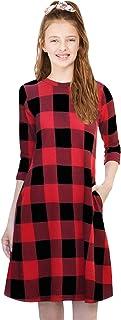 KYMIDY Girls 3/4 Sleeve Buffalo Check Plaid Dress Kids Casual Swing Tunic Dress with Pockets for Girls 6-12 Years