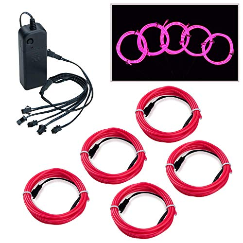 Covvy Wasserdicht Flexibel 5 * 1Meter Neon Beleuchtung Lichtschlauch Leuchtschnur EL Kabel Wire mit 3 Modis für Disco Party Kinder Halloween Kostüm Kleidung Weihnachtsfeiern (Rosa)
