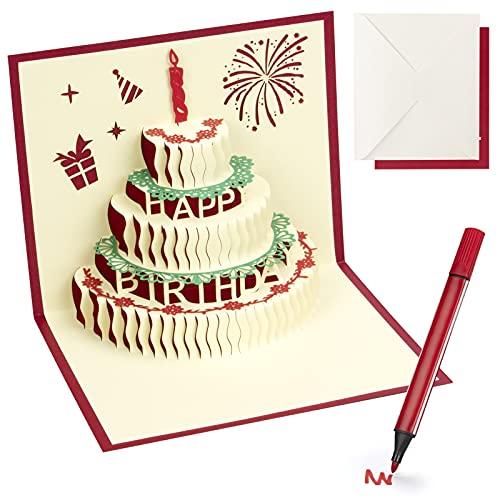 Tarjetas Regalo de Cumpleaños 3D de Pastel Felicitación Regalo para Niños, Tarjeta con Bolígrafo, Postal con Sobre para Novios, Padres, Familia, Abuelos, Escultura de Papel de Navidad HONGDDY