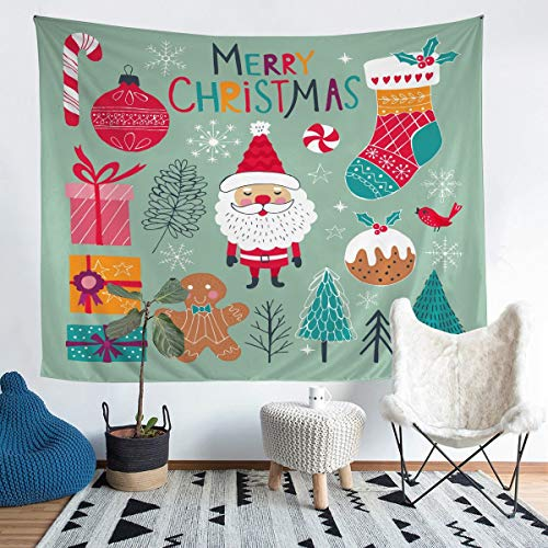 Kids Cartoon Santa Claus Wall Blanket for Children Boys Girls Cute Tapestry Xmas Tree Socks Candy Wall Hanging Winter Snowflake Bedding Throw Blanket Room Decor Medium 51x59