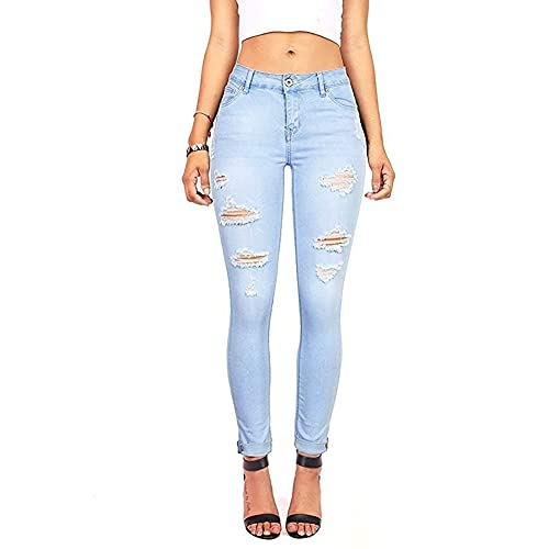 Light Blue Distressed Jeans: