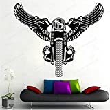 wZUN Alas de Motocicleta Pegatina de Pared de Vinilo Vintage Retro Motocicleta Pared calcomanía decoración del hogar movible 42X48cm