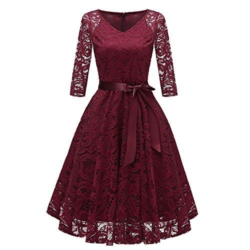 YWLINK Damen Elegant V Ausschnitt Spitzenkleid Abendkleider Partykleid Klassisch Cocktailkleid...