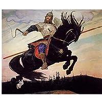ZNNHEROヴィクトルヴァスネツォフ騎士の乗り物騎手ソルデキャンバス絵画ポスタープリント壁アートリビングルームの寝室の装飾-60X90Cmx1フレームなし