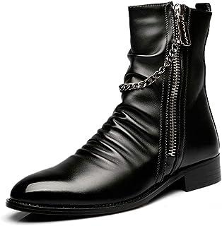 [スター イー ビズネス] ポインテットトゥブーツ ショートブーツ メンズ チェーン付き 防滑 欧米風 オシャレ 紳士靴 オシャレ 履きやすい 厚底 サイドジッパー くしゅくしゅ