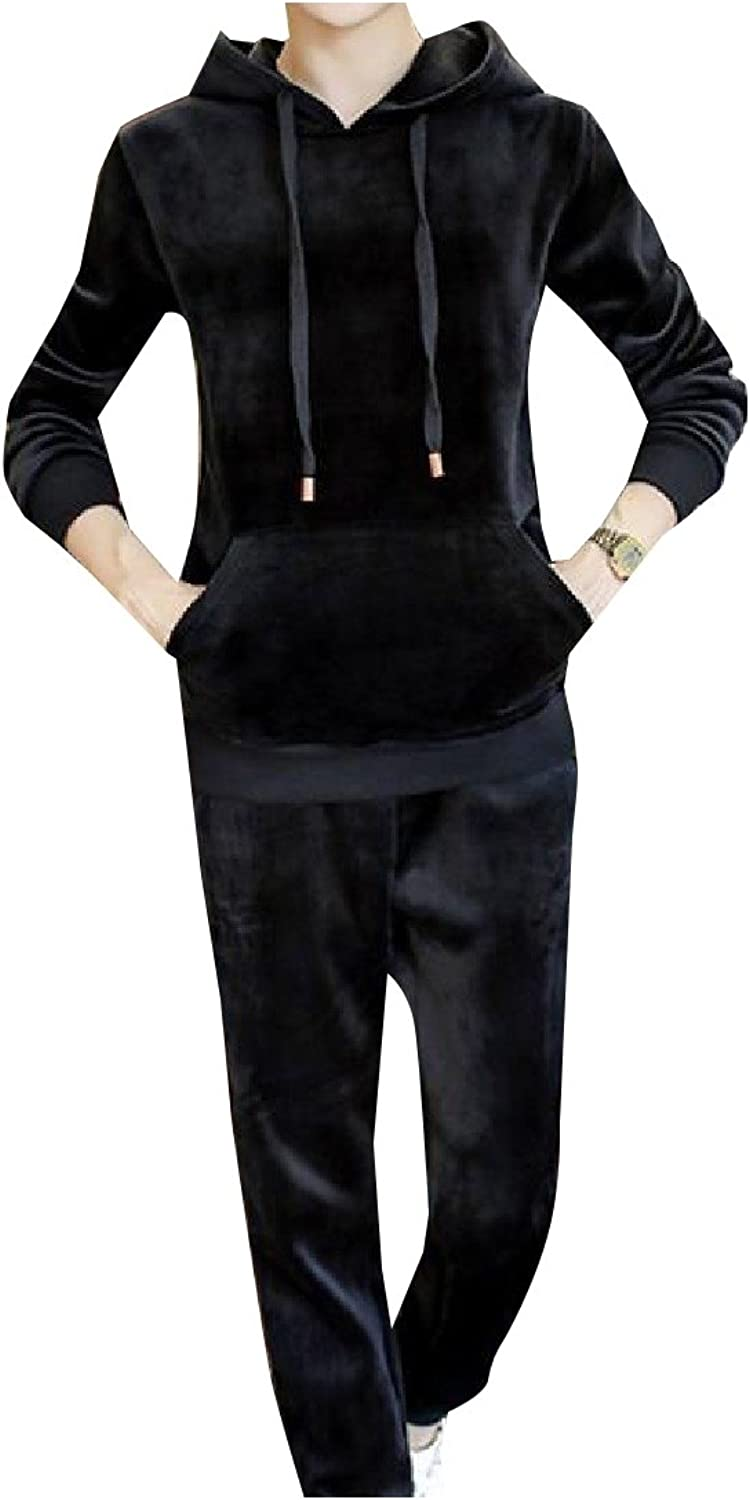 Sheng Xi Men Velvet with Hood Solid colord Athletic Tracksuit Outfit