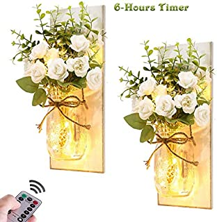 Rustic Wall Sconces Mason Jar Sconces Handmade Wall Art Hanging Design with Remote Control Lights and White Rose, Farmhouse Kitchen Decorations Wall Decor Living Room Lights (Set of 2)
