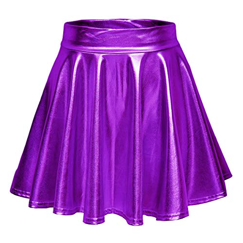 Women's Shiny Flared Pleated Mini Skater Skirt (M, Purple)