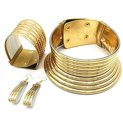 Aijian African Jewelry Statement Chokers Egypt Gold Tone Choker Women Chunky Leather Collar Necklace (C-1 Set (Gold))