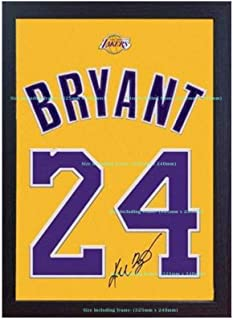 S&E DESING Kobe Bryant LA Lakers NBA Signed Autograph Jersey T-Shirt Printed ON 100% Canvas Cotton Framed