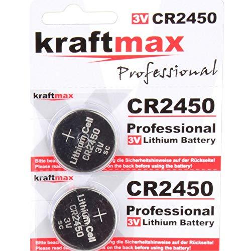 kraftmax 2er Pack CR2450 Lithium Hochleistungs- Batterie / 3V CR 2450 Knopfzelle für professionelle Anwendungen - Neuste Generation