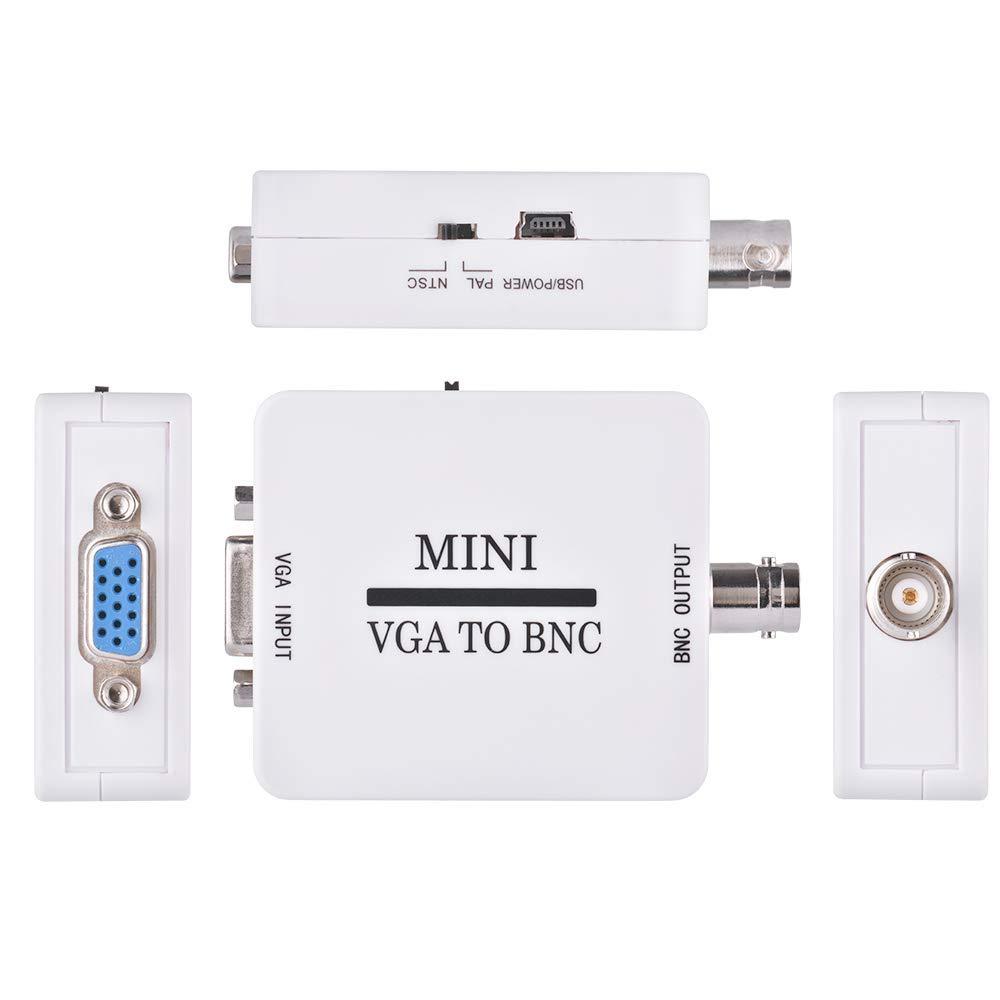 Convertidor Mini HD VGA a BNC Video, USB 1080P VGA a BNC Adaptador de Video para videoconferencia Home Theater TV Conversión de Imagen de computadora: Amazon.es: Electrónica
