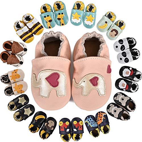 MARITONY Chausson Bebe Fille Chausson Cuir Bebe Garcon Chaussons Bébé Premiers Pas Garçon Fille Chaussures Bébé Cuir Souple Daim Antidérapants, PinkElephants 12-18 Mois