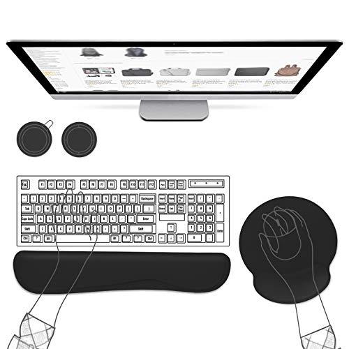 AtailorBird Tappetino Ergonomico per Mouse e Tastiera,Cuscino Poggiapolsi in Gomma Antiscivolo con Sottobicchieri per Computer da Ufficio/Casa (Nero Nuovo)