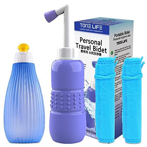 2 x umgedrehte Peri-Flaschen für die Postpartale Pflege, 350 ml + 450 ml – Bidet-Flasche – Tragbares Bidet für Neugeborene, Dammerholung und Reinigung nach der Geburt