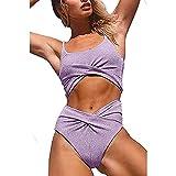 Traje de baño Bikini Brillante para Mujer de Dos Piezas, Trajes de baño con Top Corto para Mujer Novia